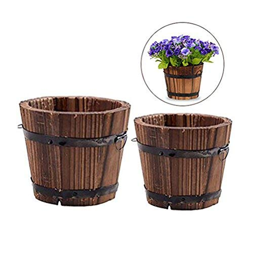 Vtete 2 Pcs Rustic Succulent Small Planter Box Wood Barrels Flower Pot Plant Container Box for 2 Different Sizes