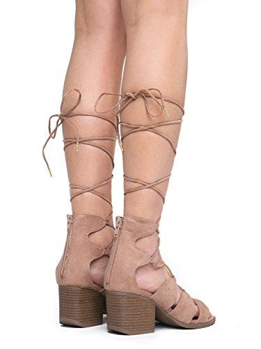 Melly Chunky Low up Taupe Lace Shoe Suede up Heel Wood Sandal Trendy Adams Gladiator Suede Sexy Tie Heel J by wqaXS