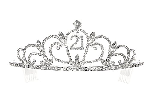 Birthday Party Rhinestone Crystal Tiara Crown - 21st 21th Twenty one T1192 (21st Birthday Tiaras)