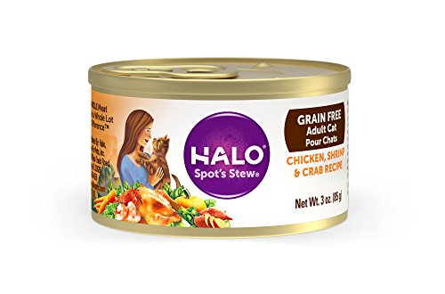 Halo Grain Free Natural Wet Cat Food, Chicken, Shrimp & Crab