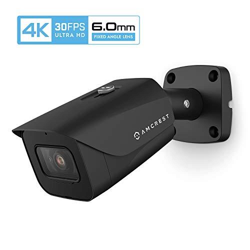 Amcrest 4K POE Camera 30fps UltraHD 8MP Outdoor Bullet PoE IP Camera, 164ft Night Vision, 6.0mm Narrower Lens, 55° Viewing Angle, IP67 Weatherproof, 4K (3840×2160) @30fps, Black (IP8M-2597EB-6MM)
