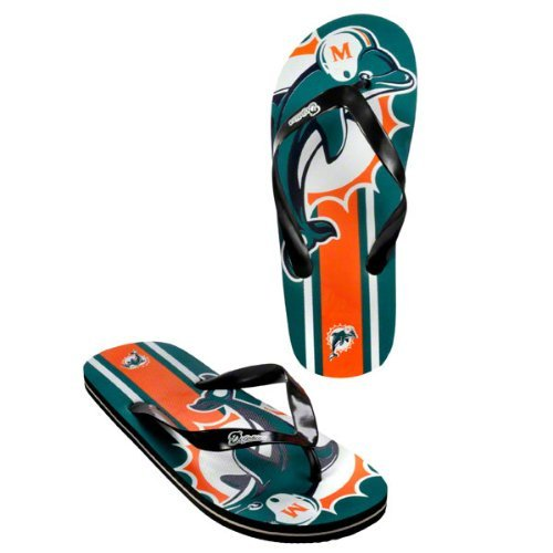 Miami Dolphins official NFL Unisex Flip Flop Beach Shoes Sandals slippers size large by forever