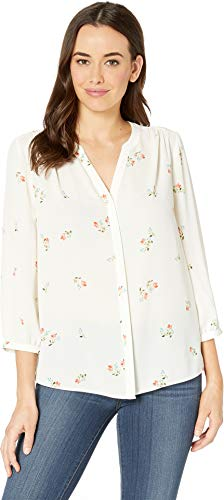(NYDJ Women's Blouse w/Pleated Back Native Vanilla Floral Large)