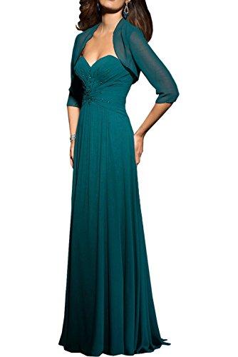 Kleider mia Brautmutterkleider Chiffon Jugendweihe Lang Traegerlos Braut Abendkleider Tanzenkleider Partykleider Grün La nUx1Tqw6ST