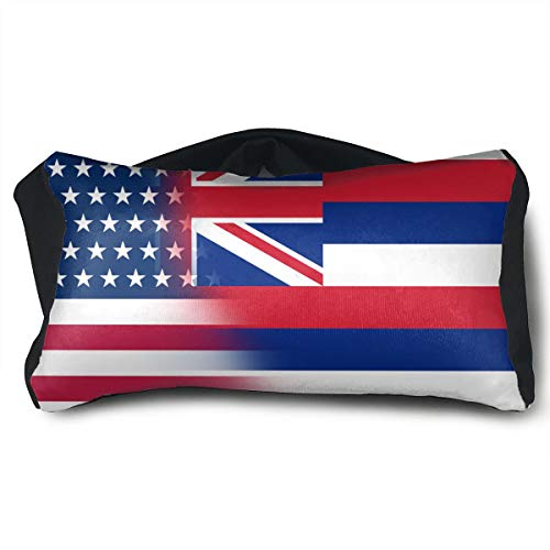 GLing-LIFE USA Hawaii State Flag Portable Voyage Pillow Travel Pillow and Eye Mask 2 in 1 Neck Head Support for Airplanes, Cars, Office Naps, Camping, Trains by GLing-LIFE