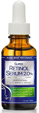 Pure Body Naturals 2% Retinol Face Serum with Hyaluronic Acid, Vitamin E, Jojoba Oil and Organic Green Tea, 1 Fl Oz
