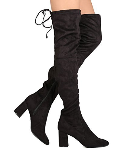 1cb6dc02abfb Women s VN36 Over The Knee - Drawstring Block Chunky Heel Pointy Toe -  Stretchy Thigh High