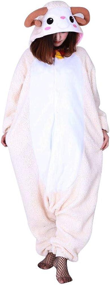 Kigurumi Pijamas Unisexo Adulto Cosplay Traje Disfraces Animal Ropa de Dormir Halloween y Navidad, Oveja