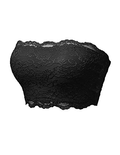 (TL Women's Full Floral Lace Strapless Seamless Stretchy Bandeau Tube Bra Top Black Small)