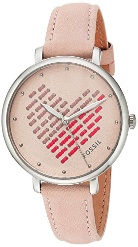 Fossil Women's ES4153 Jacqueline Three-Hand Blush Leather Watch