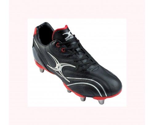 GILBERT Sidestep Zenon Lo Botas de Rugby 6 Tacos Junior negro /rojo