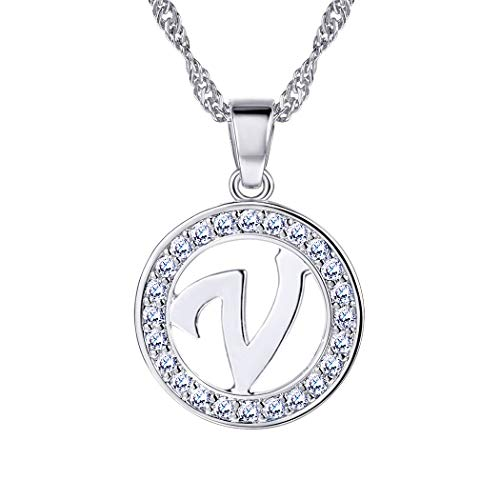 Suplight Initial Letter V Necklace Pendant Silver Cubic Zirconia Personalized Letter Charm for ()