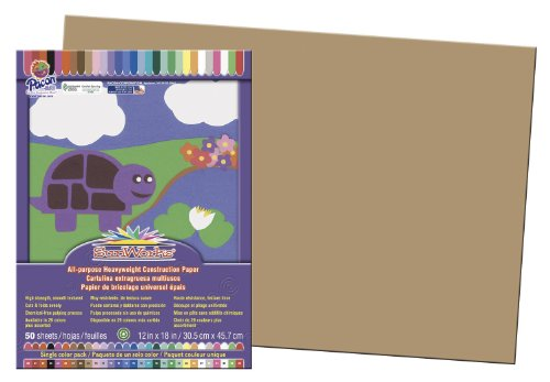 Pacon Corporation Construction Paper (Pacon SunWorks Construction Paper, 12-Inches by 18-Inches, 50-Count, Light Brown (6907))