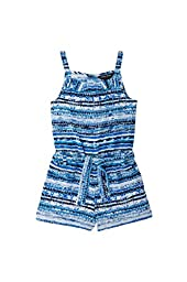 French Toast Little Girls\' Printed Romper, Methyl Blue, 5