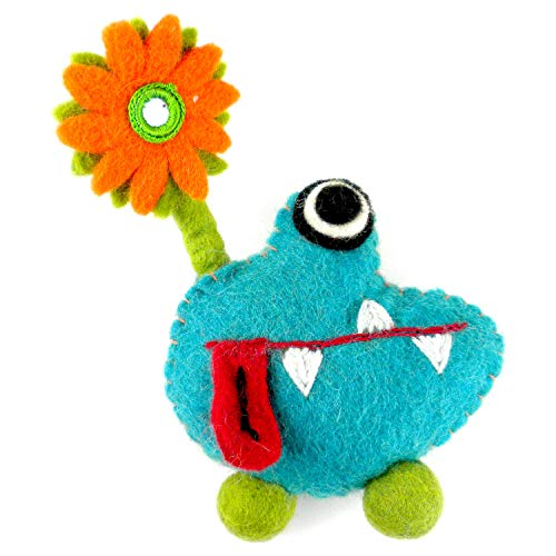 elt Tooth Fairy Monster Pillow with Pouch and a Flower Design - Handmade in Nepal ()