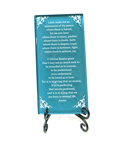 Lifeforce Glass The Prayer of St. Francis Inspirational Glass Plaque. Beloved Prayer Provides Encouragement for All. Includes Folding Easel Dark Teal.