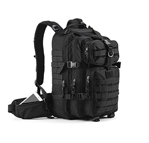 Gelindo Military Tactical Backpack, Army Molle Bag, Small Rucksack for Hunting, Survival, Camping, Trekking, 35L, Black