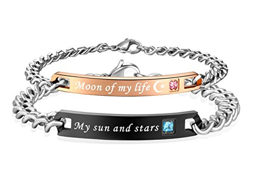 SunnyHouse Jewelry His & Hers Matching Set Stainless Steel My Sun and Stars Moon of My Life Couple Bracelet in a Gift Box (A Pair)