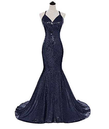 Mermaid V-neck Court Train - Eliffete Long Navy Sequin Party Dress Sleeveless Long Luxury Ball Gowns for Girl