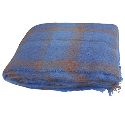 "Mohair Wool Throw - Large Brushed Mohair Throw by Cushendale Woollen Mills Ireland. Super Soft Decorative Irish Wool Blanket 54""x 72"" (Blue mix)"