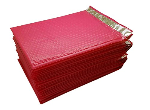 iMBAPrice 25-Pack #2 (8.5' x 12') Premium Hot Pink Color Self Seal Poly Bubble Mailers Padded Shipping Envelopes (Total 25 Bags)