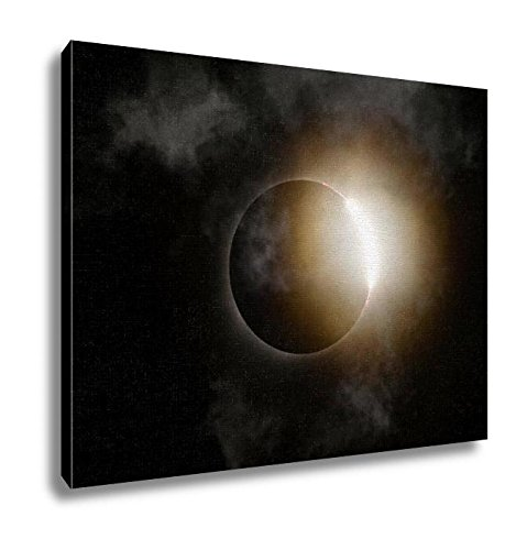 Eclipse Path Light (Ashley Canvas, Total Solar Eclipse Diamond Ring With Clouds, Wall Art Home Decor, Ready to Hang, 16x20, AG6464614)