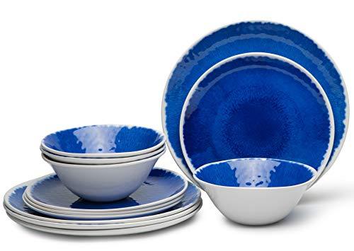 12-Piece Melamine Dinnerware Set, Dinnerware Set for 4, Dishwasher Safe, BPA ()