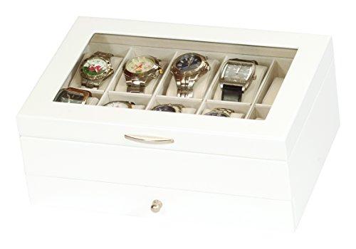 Edle Uhrenbox Holz Uhrenschatulle Vitrine weiß Uhr