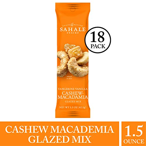 (Sahale Snacks Tangerine Vanilla Cashew-Macadamia Glazed Nut Mix, 1.5 oz., Pack of 18 - Nut Snacks in a Grab 'n Go Pouch, Paleo Snacks with No Artificial Flavors, Preservatives or)