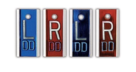 X-Ray Markers, Elite Style - Copper Filtered, 2-3 Initials, 2 SETS of LEFT & RIGHT, L&R 5/8'', Vertical
