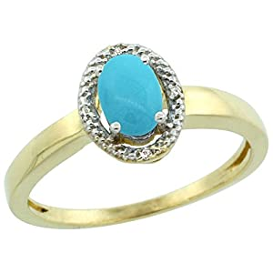 14K Yellow Gold Natural Diamond Halo Sleeping Beauty Turquoise Ring Oval 6X4 mm, size 7