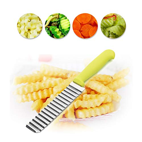 (Super Bump Wavy Chopper Potato Cutter Knife Crinkle Tool French Fry Slicer Stainless Steel Blade Vegetable Salad Chopping Knife)