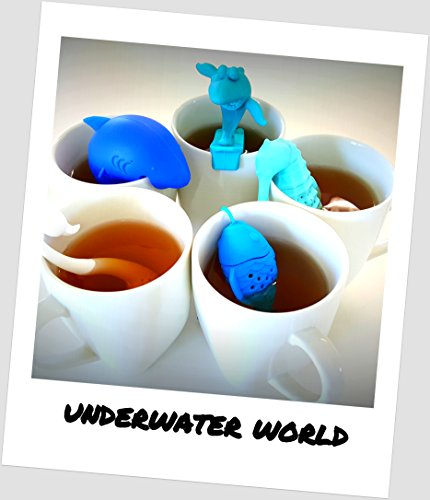 UnderWater World 5 Pack Silicone Tea Infusers, Reusable Cute Loose Leaf Tea Diffuser Strainer Gift Pack. Includes Fish, Seahorse, Swan, Shark & Surfing Shark by KABOOCHY by KABOOCHY (Image #2)