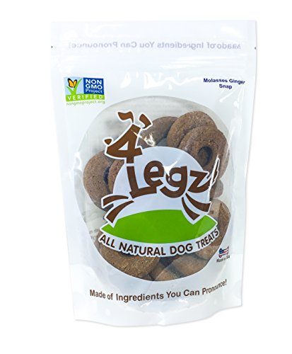 4Legz Molasses Ginger Snap All Natural Crunchy Non-GMO Dog Treats, 7 Ounce, 3 Pack