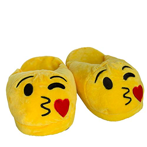 Emoji House Slippers Funny Soft Plush for Adults Kids Teens Bedroom Smiley Comfy Socks Womens Girls (Women's L: Fits 9-10 (Men's 7-8), Wink & Kiss) ()