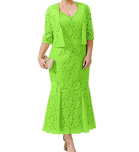 Wunderschoen Charmant Brautmutterkleider Damen Abendkleider mit Gruen Promkleider Spitze Lemon Festlichkleider Jaket Damen rqtw54t