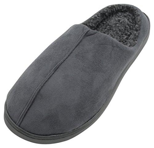 SlumberzzZ Mens Faux Suede Memory Foam Open Back Mule Slipper Grey Unboxed fxGdAQOy