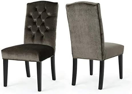 Christopher Knight Home 303765 Dione Traditional Crown Top Velvet Dining Chairs Set of 2