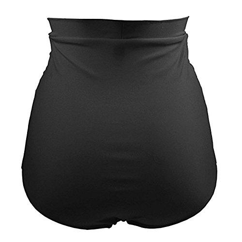 LYN Star✨ Women's High Waisted Bikini Bottom Shirred Hispter Tankini Briefs Swim Shorts Athletic Compression Shorts Black ()
