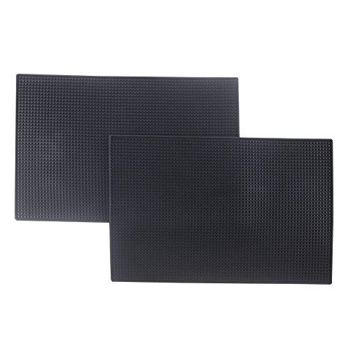 Bodian Bar Mat Coasters Rubber Heat Resistant Mats Black 18'' x 12'' (2 pack) (pvc, 17.7x11.8) by Bodian