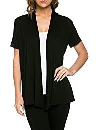 12 Ami Basic Solid Short Sleeve Open Front Cardigan -...