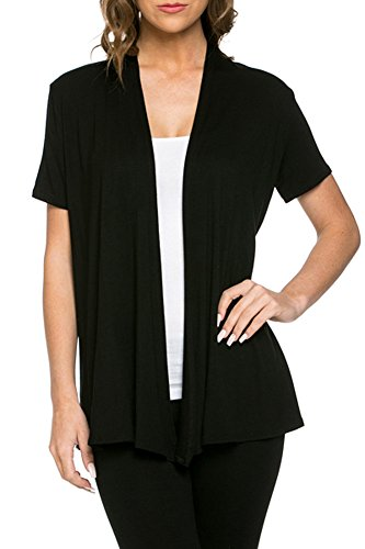 12 Ami Basic Solid Short Sleeve Open Front Cardigan Black 2X