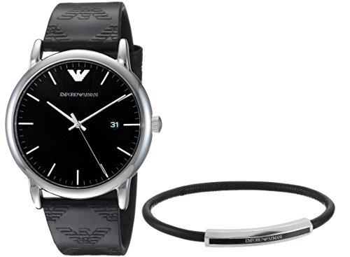 Emporio Armani Men's 'Dress' Quartz Stainless Steel and Leather Casual Watch, Color:Black (Model: AR80012) Emporio Armani Model