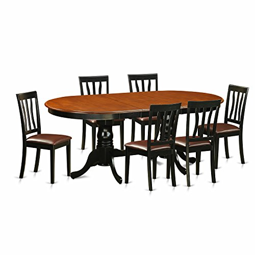 East West Furniture PLAN7-BCH-LC 7 Piece Small Kitchen Table and 6 Chairs Set