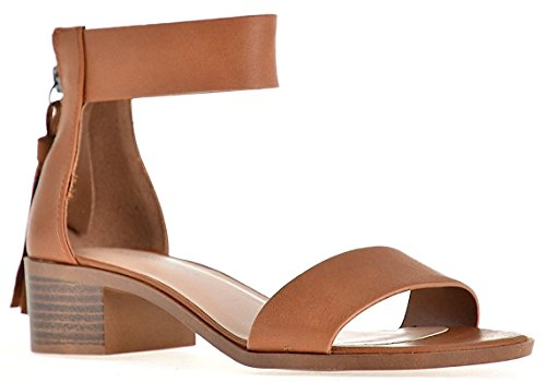 City Classified Chunky High-Heeled Dress Strap Over The Ankle Sandal Tan 8 -