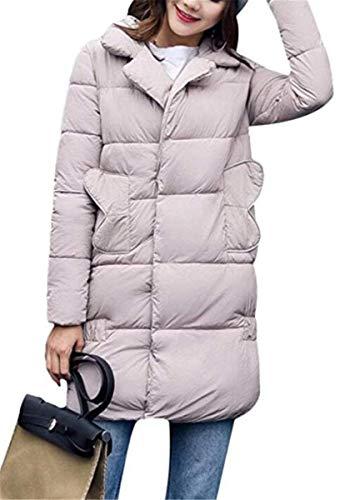 Elegantes Pluma Manga Casuales Calidad Mujer Rosa Largo Marciay Abrigo Color Alta Termica Parka Acolchado Invierno Fit Espesar Slim Outerwear wqxIwv6