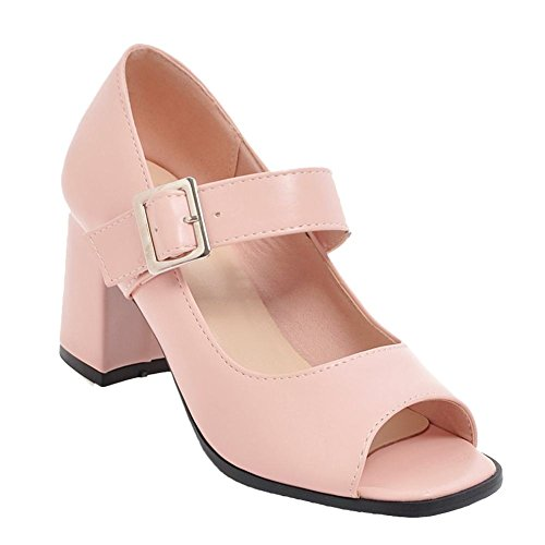Carolbar Women's Solid Color Block High Heel Peep Toe Mary Jane Shoes Pink