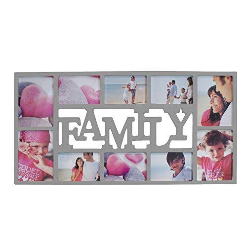 Smartfox Bilderrahmen Fotorahmen Collage für 10 Bilder im Format 6 Fotos 10x15 cm und 4 Fotos 13x18 cm in Silber Motiv: Family