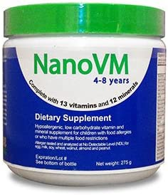 Solace Nutrition NanoVM 4-8 275g Flavorless Powdered Hypoallergenic, Carbohydrate Free Vitamin Mineral Supplement, Designed Specifically for Children with Food Allergies 4-8 Years of Age