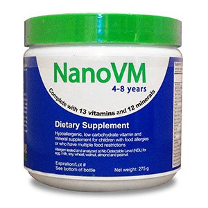 Solace Nutrition NanoVM 4-8 (275g) Flavorless Powdered Hypoallergenic, Carbohydrate Free Vitamin & Mineral Supplement, Designed Specifically For Children with Food Allergies 4-8 Years of Age For Sale